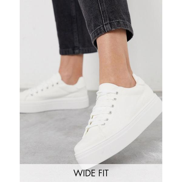 エイソス レディース スニーカー シューズ ASOS DESIGN Wide Fit Day Light chunky flatform Lace Up Sneakers White