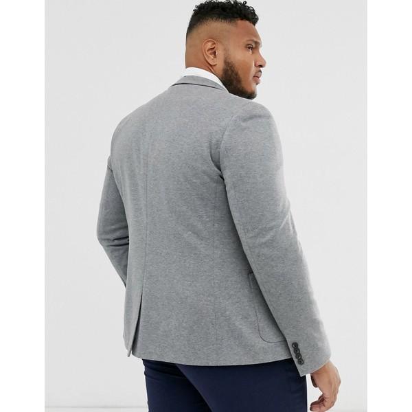 エイソス メンズ ジャケット&ブルゾン アウター ASOS DESIGN Plus super skinny jersey blazer in gray Gray
