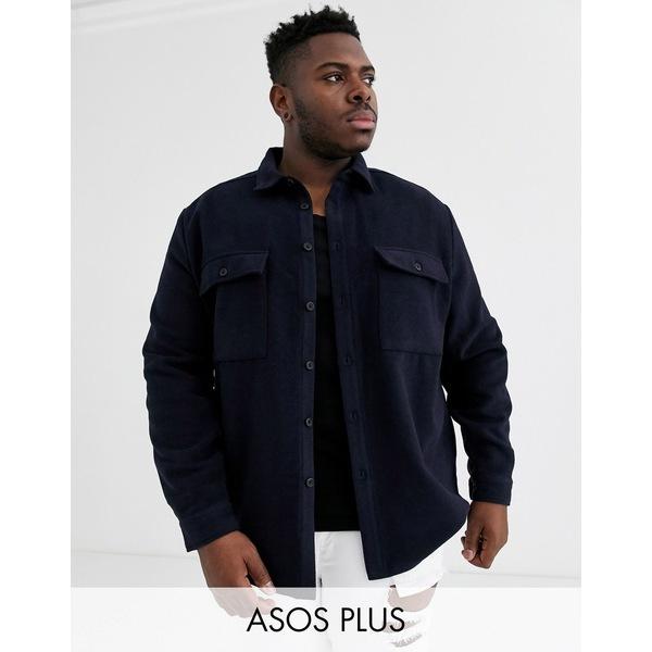 エイソス メンズ シャツ トップス ASOS DESIGN Plus navy wool mix overshirt with double pockets Navy