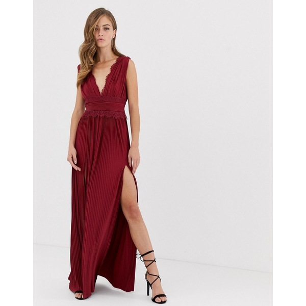 エイソス レディース ワンピース トップス ASOS DESIGN premium lace insert pleated maxi dress Oxblood