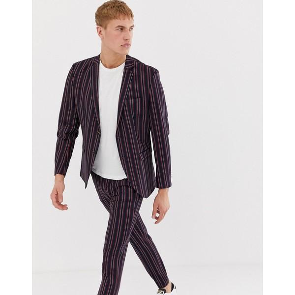 ジャック アンド ジョーンズ メンズ ジャケット&ブルゾン アウター Jack & Jones Premium slim suit jacket in boat stripe Boat stripe