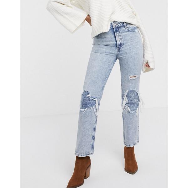 フリーピープル レディース デニムパンツ ボトムス Free People My Own Lane ripped knee bootcut jeans Indigo blue