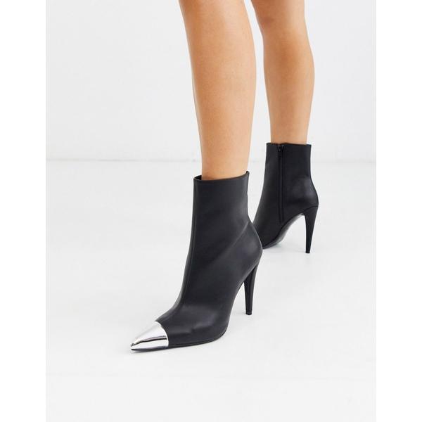 エイソス レディース ブーツ&レインブーツ シューズ ASOS DESIGN Exeter metal toe cap dressy boots in black Black