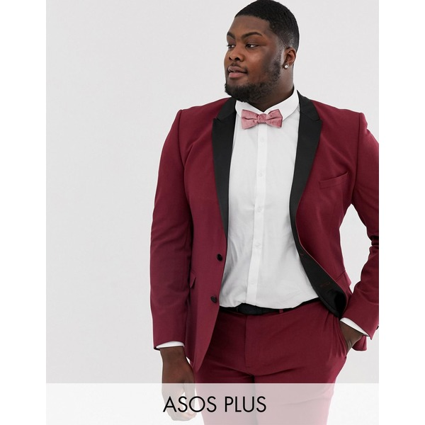 エイソス メンズ ジャケット&ブルゾン アウター ASOS DESIGN Plus super skinny tuxedo suit jacket in burgundy Burgundy