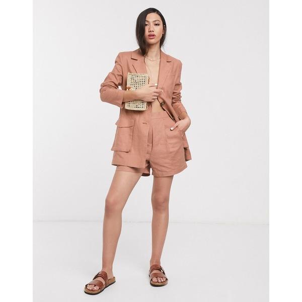 エイソス レディース カジュアルパンツ ボトムス ASOS DESIGN splendid linen suit shorts Fudge