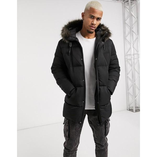 エイソス メンズ ジャケット&ブルゾン アウター ASOS DESIGN puffer jacket with faux fur hood in black Black