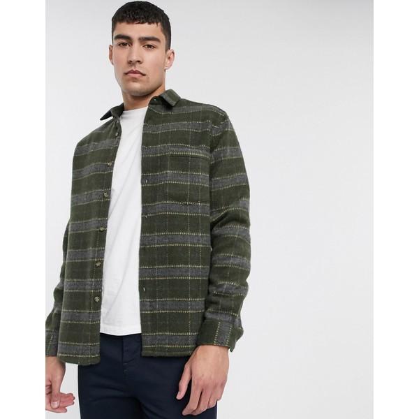エイソス メンズ シャツ トップス ASOS DESIGN wool mix regular brushed check overshirt Khaki