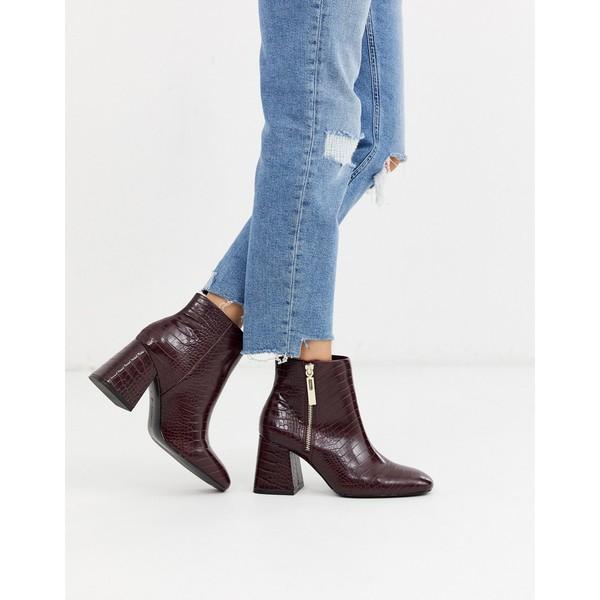 ストラディバリウス レディース ブーツ&レインブーツ シューズ Stradivarius zip side heeled boots in burgundy Burgundy