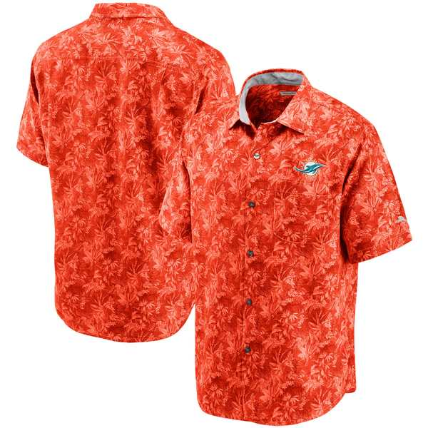 トッミーバハマ メンズ シャツ トップス Miami Dolphins Tommy Bahama Sport Jungle Shade Camp ButtonDown Shirt Orange