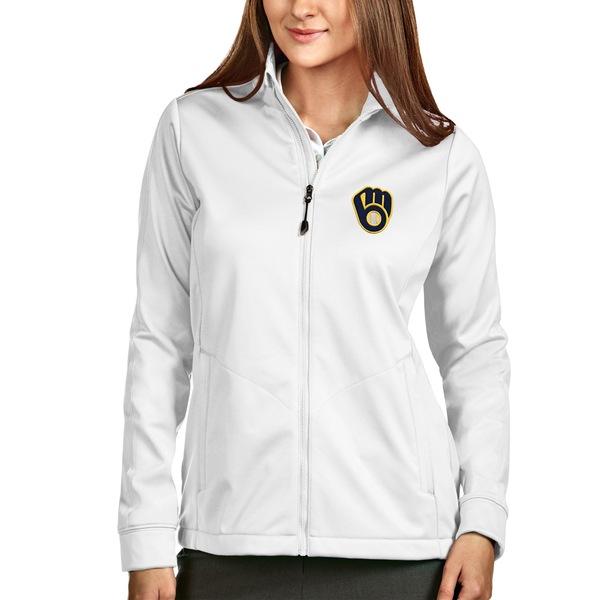 アンティグア レディース ジャケット&ブルゾン アウター Milwaukee Brewers Antigua Women's FullZip Golf Jacket White