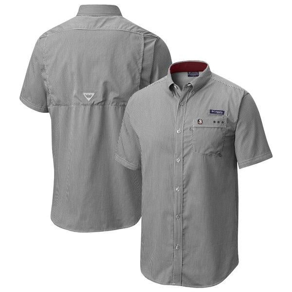 コロンビア メンズ シャツ トップス Florida State Seminoles Columbia Gingham Super Harborside PFG Shirt Black