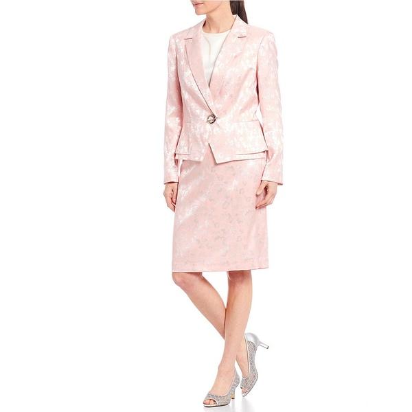 ジョン・メイヤー レディース ワンピース トップス Notch Collar Lapel Grommet Toggle Front Closure Detail Jacquard Jacket 2-Piece Skirt Suit Pink/White