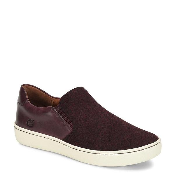 ボーン レディース スニーカー シューズ Skit Wool Leather Slip On Flatform Sneakers Burgundy/Vino