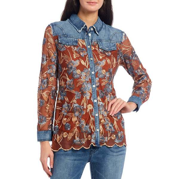 レバ レディース シャツ トップス Floral Embroidered Mesh & Denim Button Front Scalloped Hem Shirt Terracotta