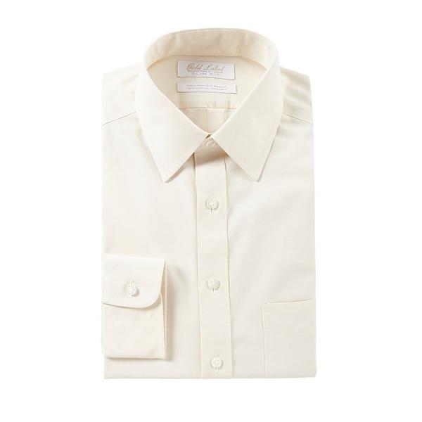 ランドツリーアンドヨーク メンズ シャツ トップス Non-Iron Slim Fit Point Collar Solid Ivory Dress Shirt Ivory