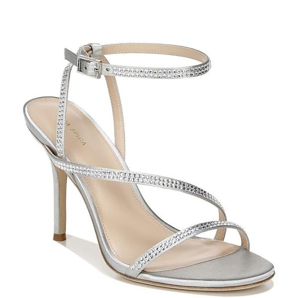 ヴィアスピガ レディース サンダル シューズ Pavlina3 Crystal Embellished Satin Dress Sandals Silver