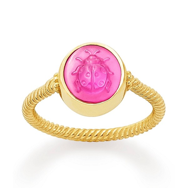ジェームスアベリー レディース リング アクセサリー 14K Gold Sculpted Ladybug Pink Triplet Ring 14K Gold Pink