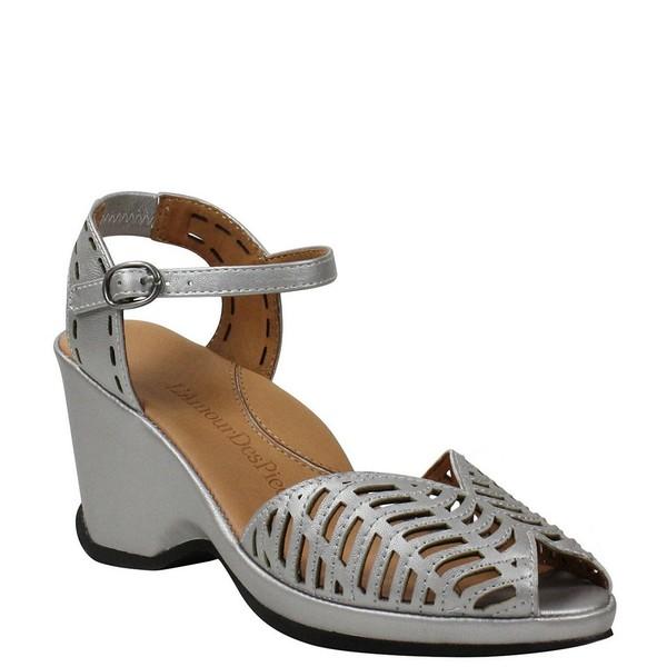 ラモールドピード レディース サンダル シューズ Oanez Cut Out Metallic Leather Wedge Sandals Silver