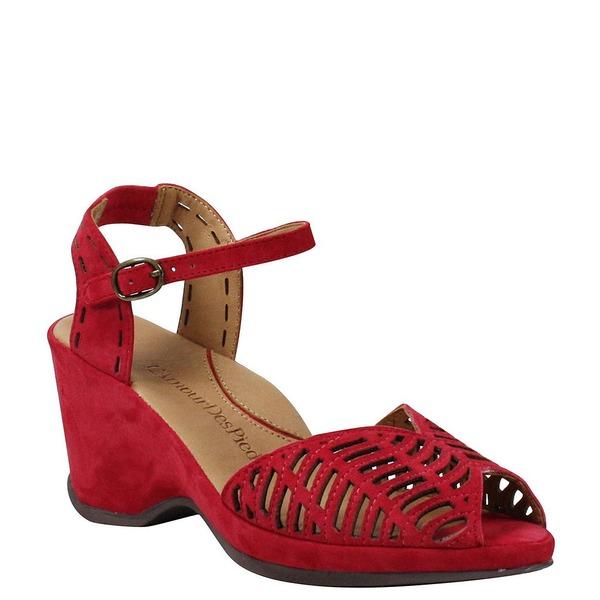 ラモールドピード レディース サンダル シューズ Oanez Cut Out Suede Wedge Sandals Bright Red Suede