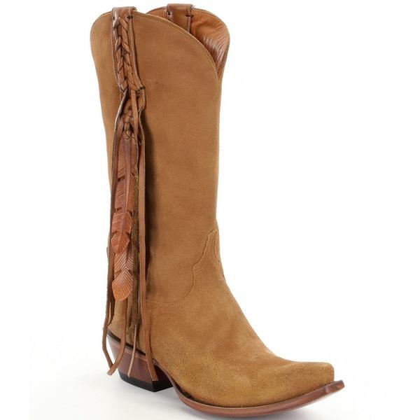 ルチーズ レディース ブーツ&レインブーツ シューズ Tori Suede Fringe & Feather Western Boots Light Tan