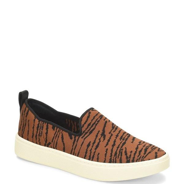 ソフト レディース スニーカー シューズ Somers Knit Tiger Print Slip On Sneakers Black/Tan