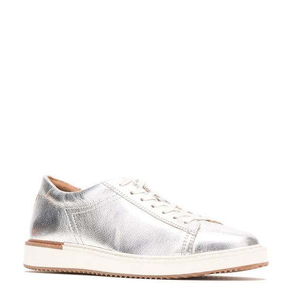 ハッシュパピー レディース スニーカー シューズ Sabine Leather Lace-Up Sneakers Silver Metallic Leather