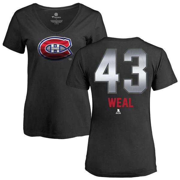 ファナティクス レディース Tシャツ トップス Montreal Canadiens Fanatics Branded Women's Personalized Midnight Mascot VNeck TShirt Black