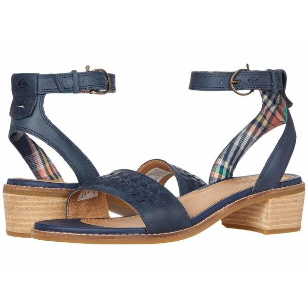 スペリー レディース ヒール シューズ Seaport City Sandal Ankle Strap Woven Leather Navy