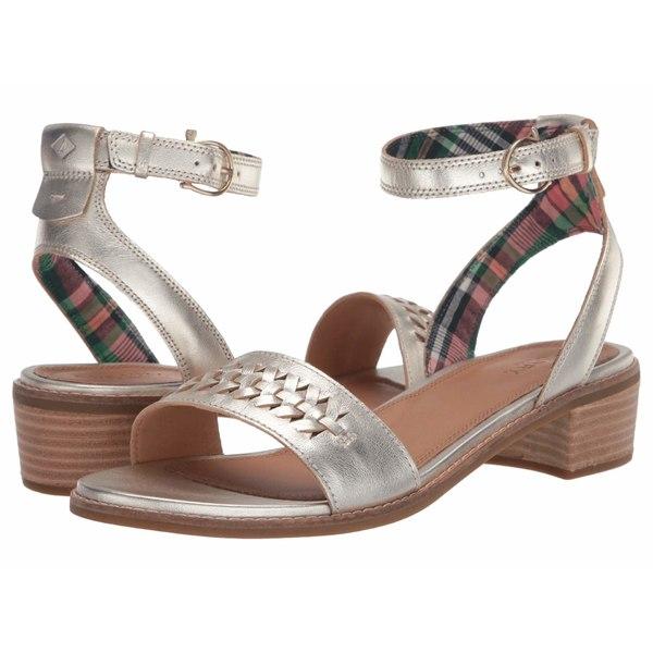 スペリー レディース ヒール シューズ Seaport City Sandal Ankle Strap Woven Leather Platinum