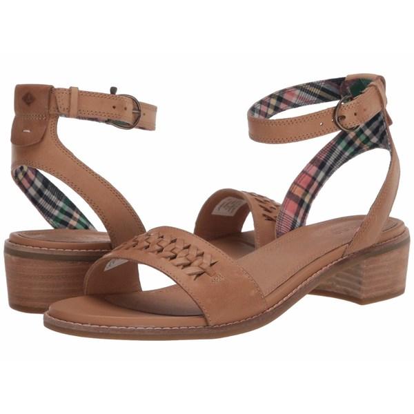 スペリー レディース ヒール シューズ Seaport City Sandal Ankle Strap Woven Leather Tan