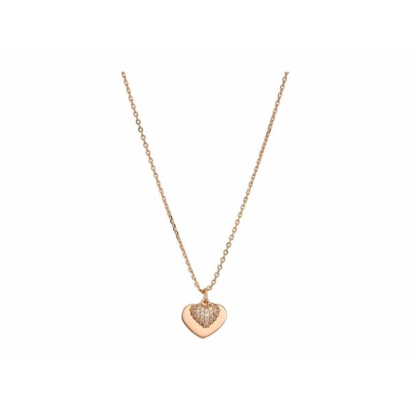 マイケルコース レディース ネックレス・チョーカー・ペンダントトップ アクセサリー Precious Metal-Plated Sterling Silver Pav Heart Necklace Rose Gold