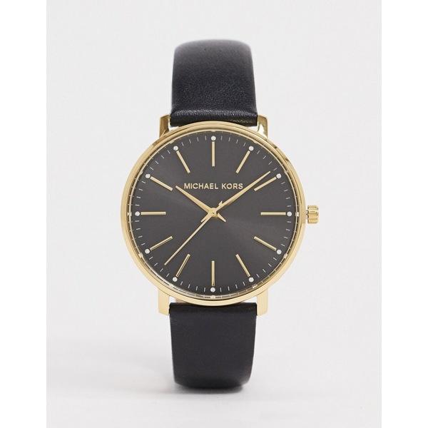 マイケルコース メンズ 腕時計 アクセサリー Michael Kors Pyper black leather watch MK2747 Black
