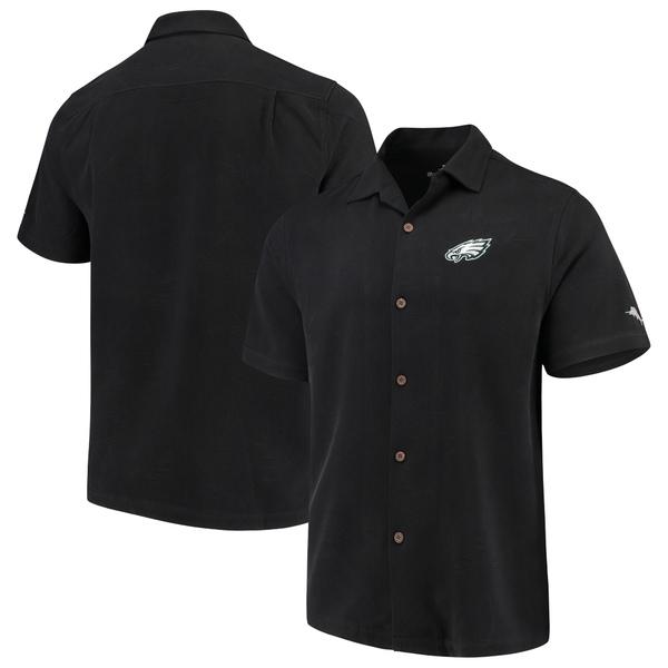 トッミーバハマ メンズ シャツ トップス Philadelphia Eagles Tommy Bahama Luau Floral Core Camp ButtonUp Shirt Black