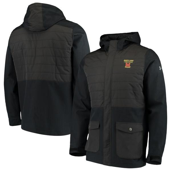 アンダーアーマー メンズ ジャケット&ブルゾン アウター Maryland Terrapins Under Armour Hybrid Parka Performance FullZip Jacket Black