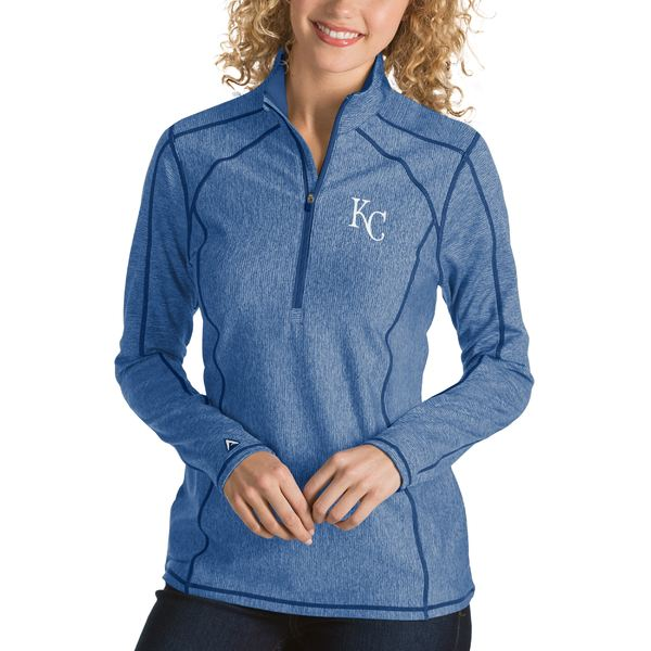 アンティグア レディース パーカー・スウェットシャツ アウター Kansas City Royals Antigua Women's Tempo Desert Dry 1/4Zip Pullover Jacket Heathered Charcoal:asty