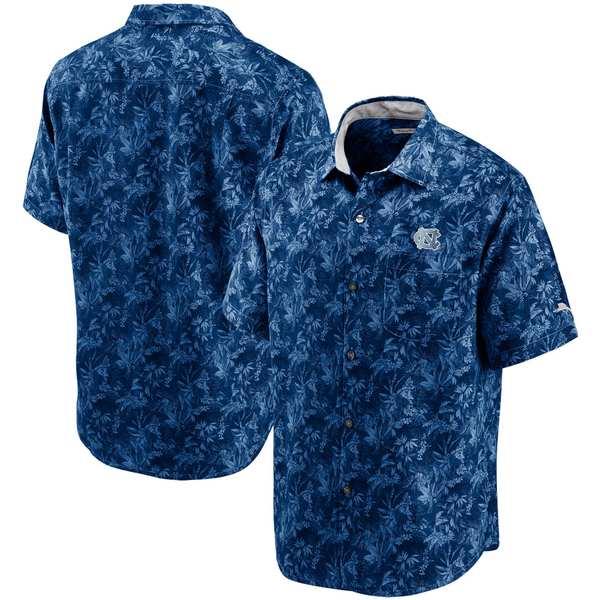 トッミーバハマ メンズ シャツ トップス North Carolina Tar Heels Tommy Bahama Sport Jungle Shade Camp ButtonUp Shirt Navy