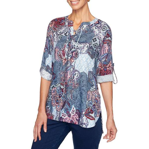 ルビーロード レディース シャツ トップス Petite Size Floral Roll-Tab Sleeve Lace-Up Front Placket Rayon Twill Top Light Indigo Multi