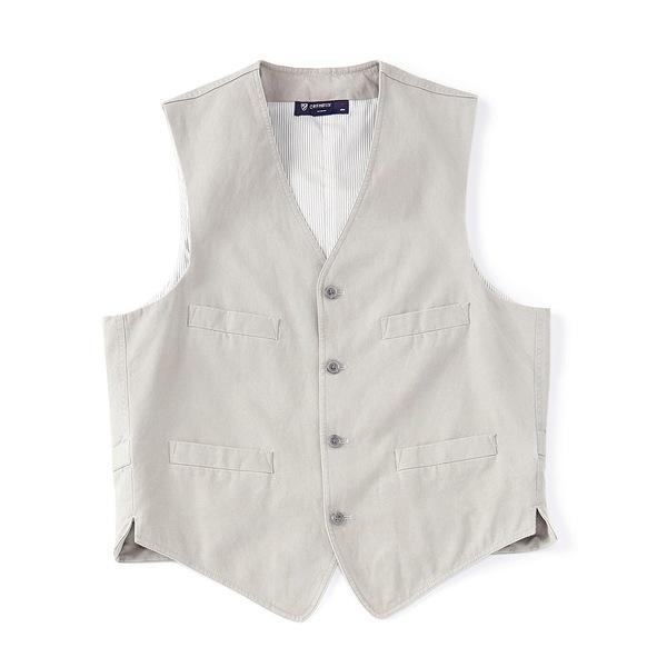 クレミュ メンズ ジャケット&ブルゾン アウター Washed Cotton Linen Vest Grey
