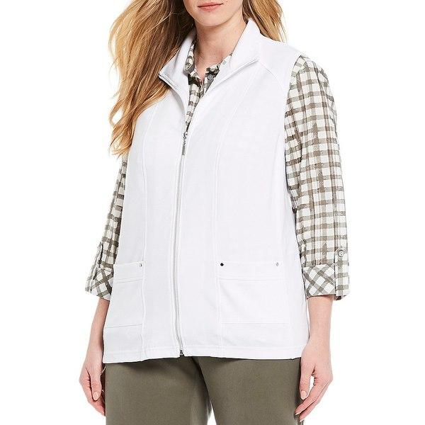 アリソンダーレイ レディース ジャケット&ブルゾン アウター Plus Size San Remo Knit Zipper Front Cotton Blend Vest White
