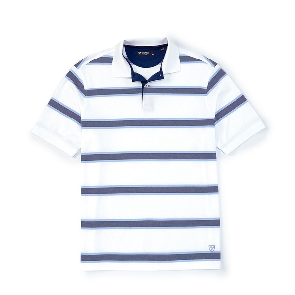 クレミュ メンズ ポロシャツ トップス Stripe Multi-Color Short-Sleeve Polo Shirt White