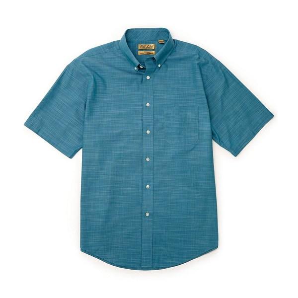 ランドツリーアンドヨーク メンズ シャツ トップス Gold Label Roundtree & Yorke Perfect Performance Short-Sleeve Non-Iron Solid Slub Sportshirt Dusty Turquoise
