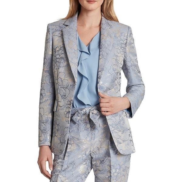 タハリエーエスエル レディース ジャケット&ブルゾン アウター Long Sleeve Floral Jacquard Jacket Silver Blue Floral