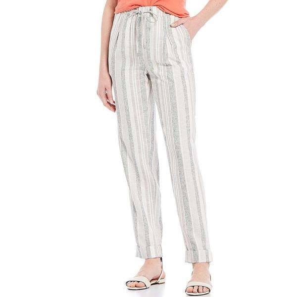 ジョーンズニューヨーク レディース カジュアルパンツ ボトムス Stripe Print Linen Blend Cuffed Pull-On Jogger Pants Hampton Linen Cement