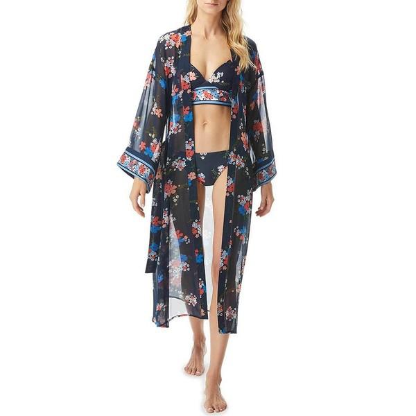 マイケルコース レディース ワンピース トップス MICHAEL Michael Kors Floral Border Kimono Chiffon Cover Up New Navy