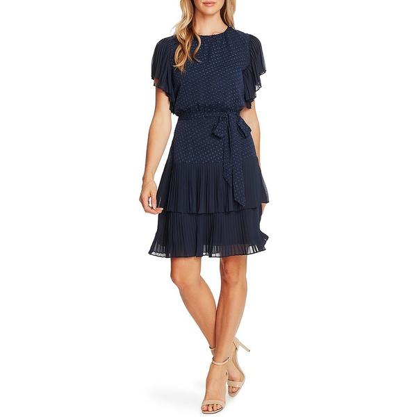 セセ レディース ワンピース トップス Short Sleeve Pleated Ruffle Tie Waist Clip Dot Dress Night Shadow