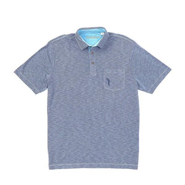カリビーン メンズ ポロシャツ トップス Textured Solid Knit Short-Sleeve Polo Shirt Navy