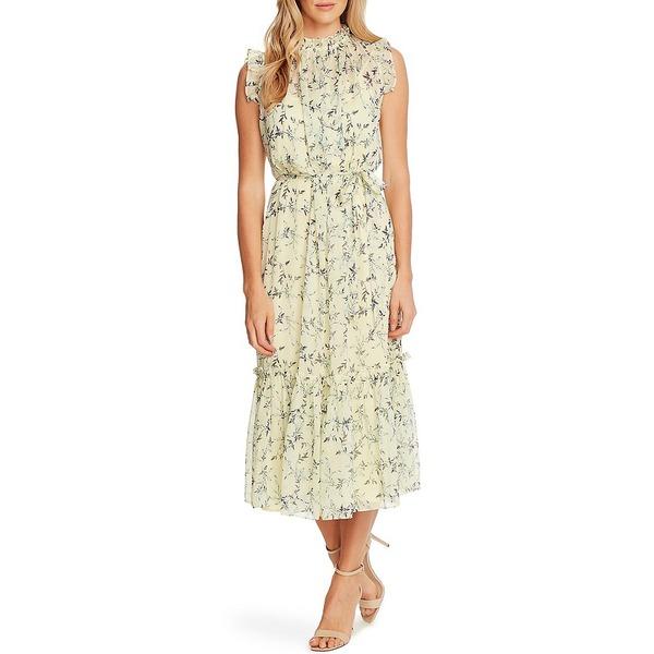 セセ レディース ワンピース トップス Mock Neck Sleeveless Ruffled Floral Print Belted Midi Dress Lemonade