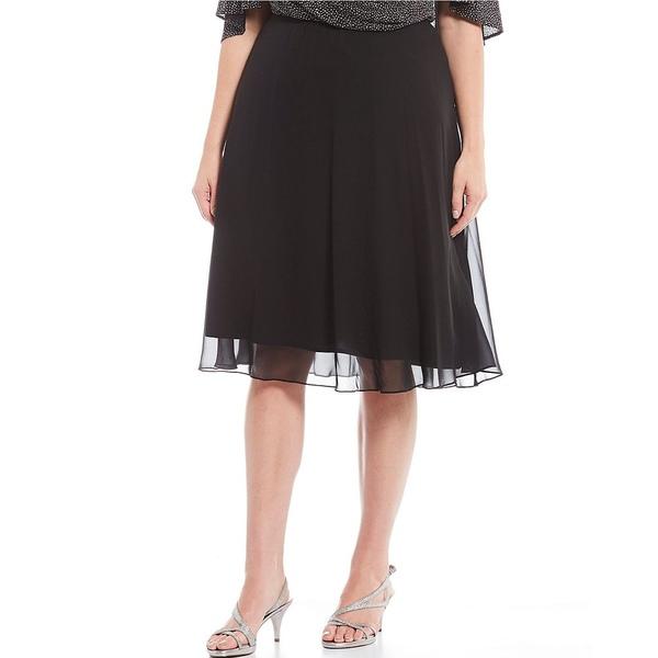 アレックスイブニングス レディース ワンピース トップス Plus Size Chiffon A-Line Skirt Black
