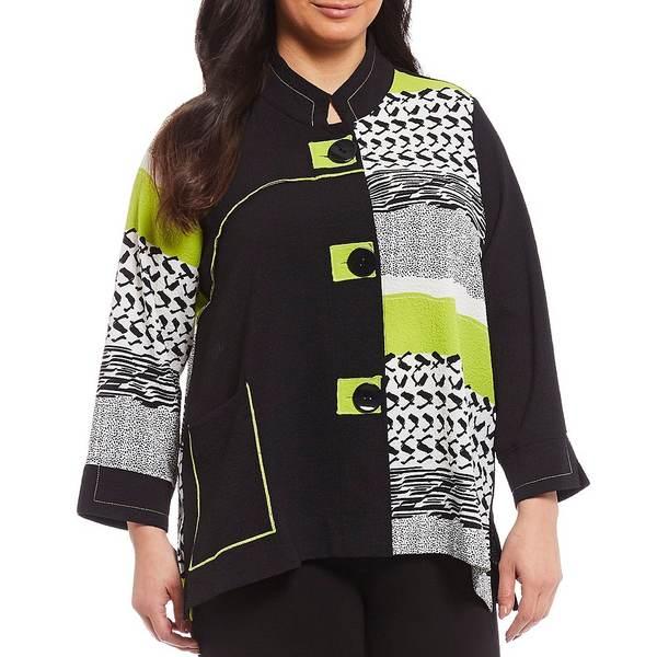 アリ マイルス レディース ジャケット&ブルゾン アウター Plus Size Colorblock 3/4 French Cuff Sleeve Button Front Jacket Black/Lime