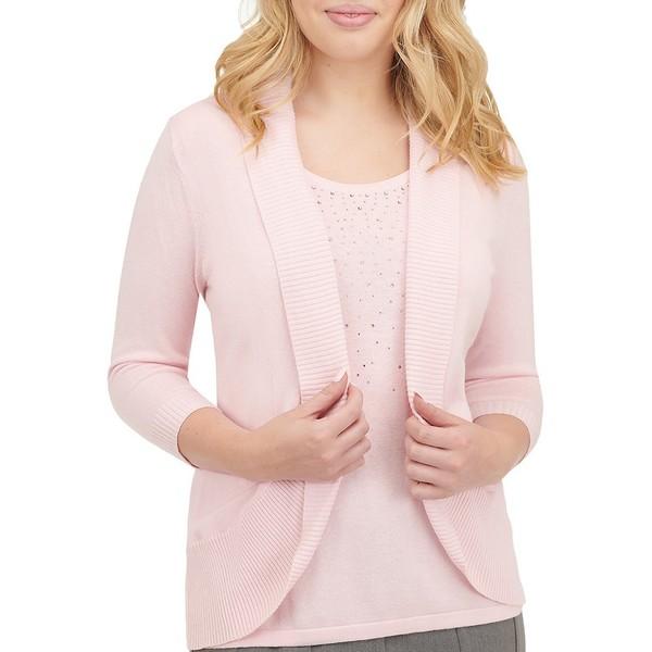 アリソンダーレイ レディース ニット&セーター アウター Petite Size Embellished Knitted Cotton Blend Cardigan Fooler Shell Pink